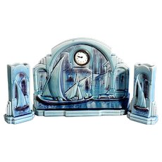 Art Deco Mantelpiece  Set Clock & Vases Pair Sarreguemines France