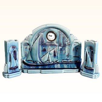 Art Deco Mantelpiece  Set Clock & Vases Pair Sarreguemines France