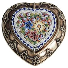 Late Victorian Era Micro Mosaic Box Rare Heart Shape