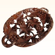 Superb wooden Tray Black Forest Hand Carved Open Work ca. 1900
