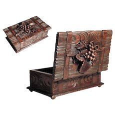 Hand Carved Wooden Jewelry Casket  Black Forest ca. 1900