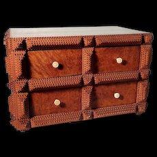 Rare Wooden Drawer Cabinet Oak Tree Veneer and  Tramp Art Applications