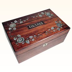 French Cigar Box Rosewood and Mother of Pearl Inlays ca. 1900