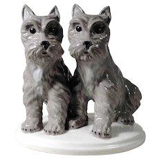 Porcelain Figurine Dogs Terrier Puppies