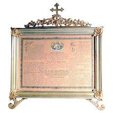 19th Century Altar Card Jesus Church Inventory