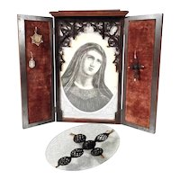 Wooden Home Altar Engraving Woven Hair Cross