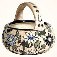 Lovely Amphora Faience Basket & Enamel Painting ca. 1920