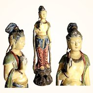 Antique 19th Century Hand Carved Statue Guan Yin Goddess of Mercy