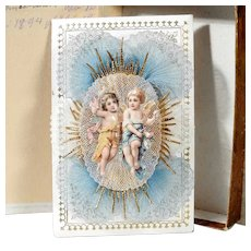 Remembrance of the Holy Baptism Delightful Angel Pair dated 1894