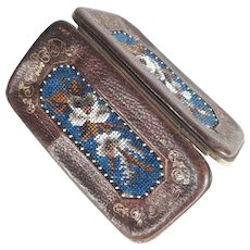 Late Victorian Era Etui Case Leather and Beadwork