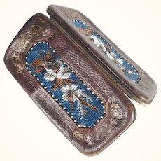 Late Victorian Era Etui Case Leather and Beadwork