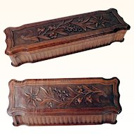 Hand Carved Jewelry Box Edelweiss and Gentian ca. 1900/20