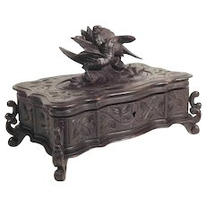 Hand Carved Jewelry Casket Game Birds ca. 1880 Black Forest