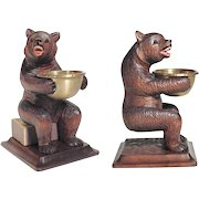 Unusual Hand Carved Bear with Tray Black Forest ca. 1900