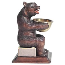 Unusual Hand Carved Bear with Tray Black Forest