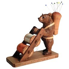Lovely Hand Carved Bear Pin Cushion & Bobbin Holder Black Forest