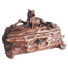 Fantastic Hand Carved Jewelry Box Fox on Tree Trunk ca. 1880