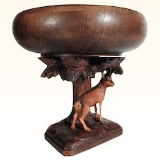 Hand Carved Foot Tray Tazza with Tree and Dear Center Piece