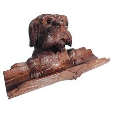 Fantastic Hand Carved Figural Ink Well Dog Head Pen Rest  Black Forest