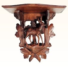 Hand Carved Shelf Dear Black Forest Carving