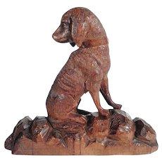 Antique Hand Carved Chase Dog Figurine Black Forest