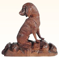 Antique Hand Carved Chase Dog Figurine Black Forest