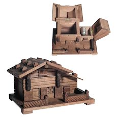 Little Handmade Wooden Box Chalet Two Compartments