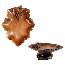 Musical Hand Carved Bowl Wine leaf Shape ca. 1920  Black Forest