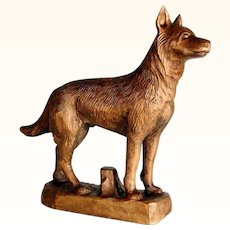 Great Hand Carved German Shepherd Dog ca. 1920