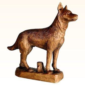 Great Hand Carved German Shepherd Dog ca. 1920