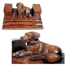 Hand Carved Ink Well Reclining Dog Labrador Black Forest ca. 1900/20