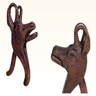 Hand Carved Nutcracker Chamois Head ca. 1880