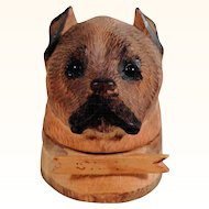 Hand Carved Ink Well Dog Head Glass Eyes ca. 1900