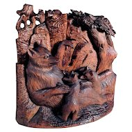 Treen Bear Family Hand Carving Mom and Young Bears