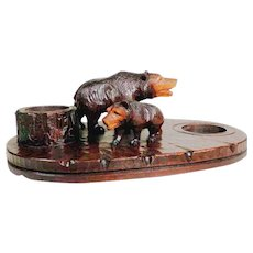 Large Wooden Vide-de-poche Tray with Two Bears Hand Carving ca. 1900