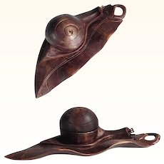 Rare Hand Carved Ink Well Snail Shape Black Forest ca. 1900
