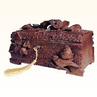 Exquisite 19th Century Hand Carved Jewelry Casket Birds Black Forest