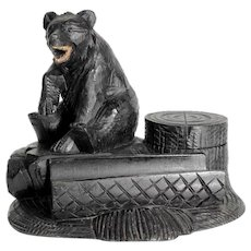 Charming Hand Carved Desk Set Ink Well Black Bear Black Forest
