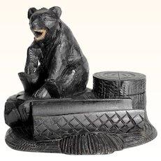 Charming Hand Carved Desk Set Ink Well Black Bear Black Forest