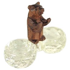 Hand Carved Miniature Bear Double Salt Black Forest ca. 1900