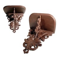 Hand Carved Wooden Wall Shelf Unusual Large Piece Black Forest