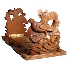Hand Carved Book Slide Expandable Book Rack Mountain Cocks ca. 1900