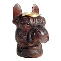 Fantastic Hand Carved Dog Head Boston Terrier or French Bulldog