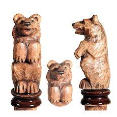 Wooden Bottle Stopper Hand Carved Sit Up and Bag Bear Black Forest