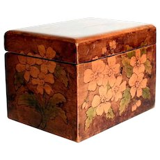 Charming Victorian Tea  Caddy Tinted Pokerwork
