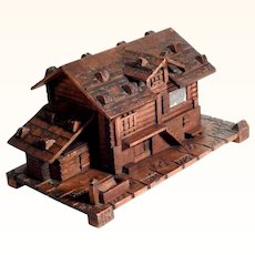 Amazing Hand Carved Box Chalet Shape Black Forest