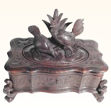 19th Century Hand Carved Jewelry Box Rooster and Hen Black Forest