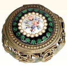 French Box with Bresse Enamel Lid ca. 1860