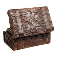Small Hand Carved  Box Case Shape