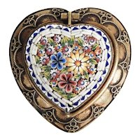 Antique Micro Mosaic Pill or Rosary Box Heart Shape